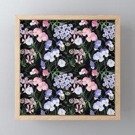 Flower bed in black Framed Mini Art Print
