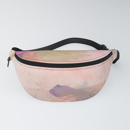 brush painting texture abstract background in pink purple yellow green Fanny Pack