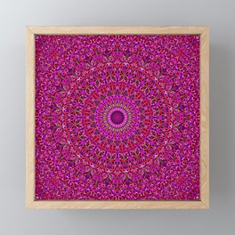 Deep Pink Garden Mandala Framed Mini Art Print