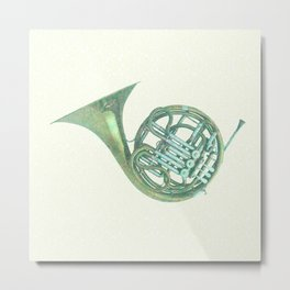 Floral notes with the French Horn Metal Print