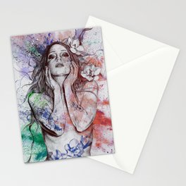 The Withering Spring I : Wine | nude tattoo woman portrait Stationery Cards