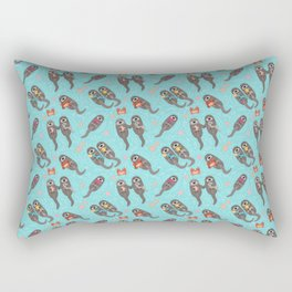Otters Playing - Aquamarine Background Rectangular Pillow