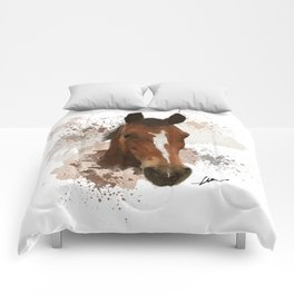 Brown and White Horse Watercolor Comforters