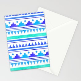 Seamless watercolor geometric pattern in native american style. Boho design Stationery Cards
