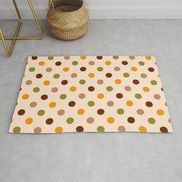 Retro 70s medium polka dots orange brown beige background Rug