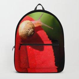 Snail on red leaf Backpack