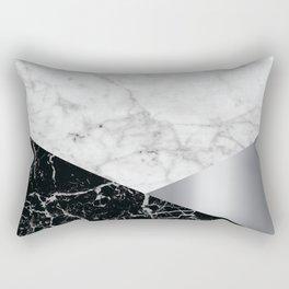 White Marble - Black Granite & Silver #230 Rectangular Pillow