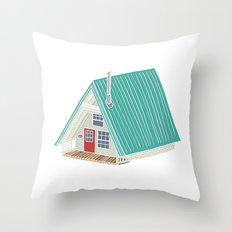 Little A Frame Cabin Throw Pillow