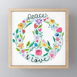 Peace And Love Floral Sign Framed Mini Art Print