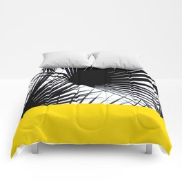 Black and White Tropical Palm Leaves on Sunny Yellow Comforters