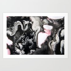 Black White Pink Art Print