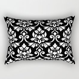 Feuille Damask Pattern White on Black Rectangular Pillow