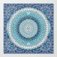 Teal Tapestry Mandala Canvas Print
