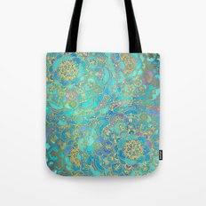 Sapphire & Jade Stained Glass Mandalas Tote Bag