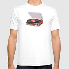 Phonograph (a.k.a. record player - gramophone - turntable - etc.) MEDIUM Mens Fitted Tee White