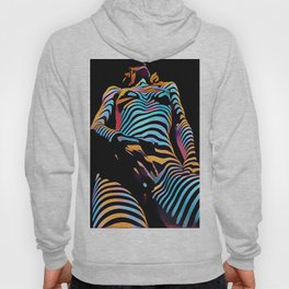 1813s-AK Zebra Striped Woman Hand on Pubis Rendered Composition Style by Chris Maher Hoody