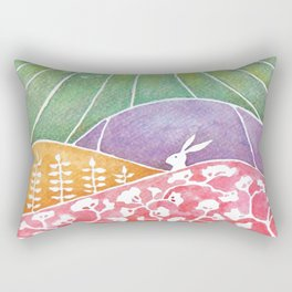 Rabbits on the meadow Rectangular Pillow