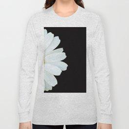 Hello Daisy - White Flower Black Background #decor #society6 #buyart Long Sleeve T-shirt