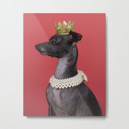 A brown Italian greyhound dog with a pearl collar and a gold crown against a red background Metal Print
