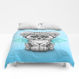 Snow Leopard Cub Fairy Wearing Glasses on Blue Comforters