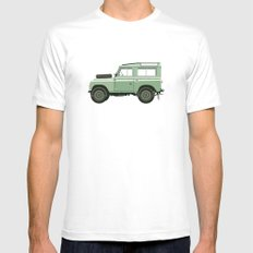 Car illustration - land rover Mens Fitted Tee White X-LARGE