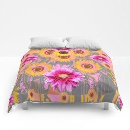 YELLOW SUNFLOWERS & PURPLE DAHLIAS GREY ABSTRACT Comforters