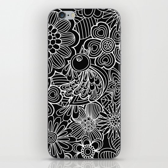 """""""Welcome birds..""""in black and white. iPhone & iPod Skin"""