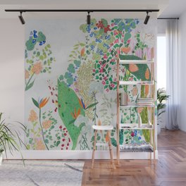 Painterly Floral Jungle on Pink and White Wall Mural