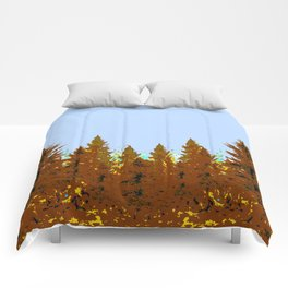 DECORATIVE BROWN-OCHER COLORED FOREST Comforters