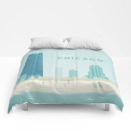 Vintage Chicago Travel Poster Comforters