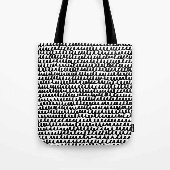 Black Wave Lines on White Tote Bag