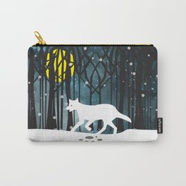 White Wolf at Midnight Carry-All Pouch