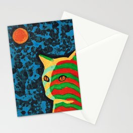 Tabby Cat Feeling Orange and Green Stationery Cards