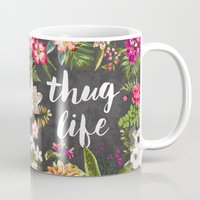 house Mugs featuring Thug Life by Text Guy