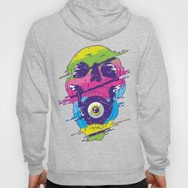 Psychedelic Skull Vaporwave With Eye Ball Hoody