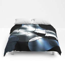 ABSTRACT CURVES #1 (Black, Grays & White) Comforters