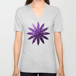 Beautiful Dark Purple glitter sparkles Unisex V-Neck