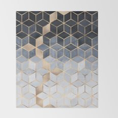 Soft Blue Gradient Cubes Throw Blanket