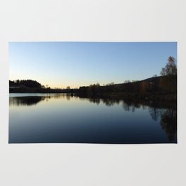 Indian summer sunset at the fishing lake IV | waterscape photography Rug