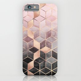 Pink And Grey Gradient Cubes iPhone Case