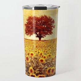 lone tree & sunflowers field Travel Mug