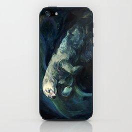 Polar Bear Swimming in Northern Lights iPhone Skin