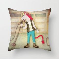 Punk Unicorn Throw Pillow