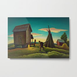 Night Firing of Tobacco landscape painting by Thomas Hart Benton Metal Print