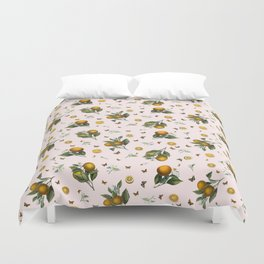 Oranges and Butterflies in Blush Duvet Cover