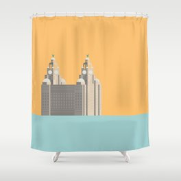 Liverpool Liver Building Print Shower Curtain