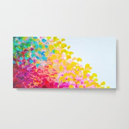 CREATION IN COLOR - Vibrant Bright Bold Colorful Abstract Painting Cheerful Fun Ocean Autumn Waves Metal Print