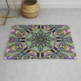 Colourful mandala with decorative shapes and tribal patterns Rug