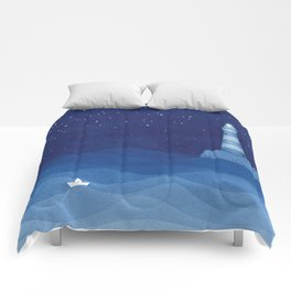Lighthouse & the paper boat, blue ocean Comforters