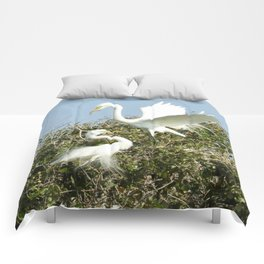 Bird Series: Nesting Great Egrets Comforters
